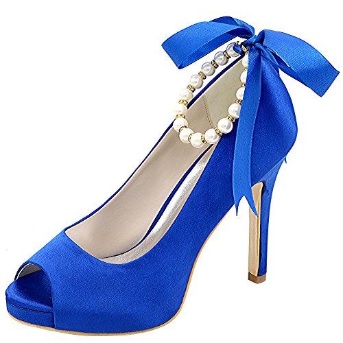 Loslandifen Donna Eleganti Scarpe A Punta Aperta In Raso Cinturini Alla Caviglia Tacco Alto Scarpe Da Sposa In Raso Blu