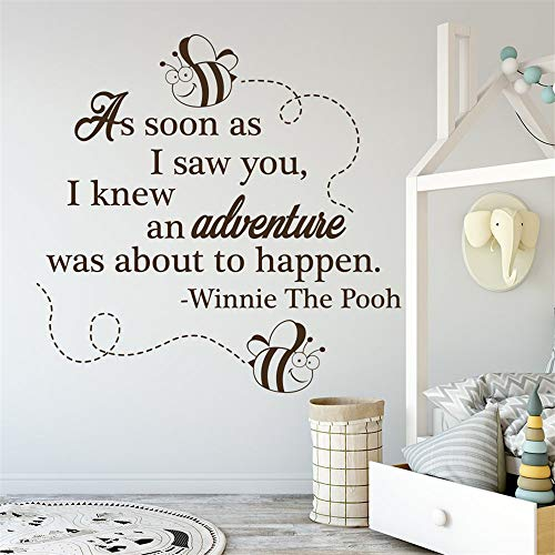 Vinyl Wall Decals Winnie The Pooh Quote As Soon As I Saw You Art Wall Sticker for Kids Room Mural Nursery Bedroom Decor Wall Decals ()