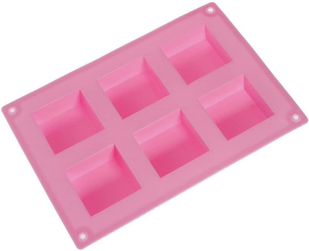 6 moldes cuadrados de silicona para jabón, gelatina, hielo ...