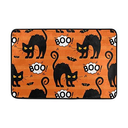 (TCHUN Doormat Vintage Happy Halloween Black Cats Non-Slip Doormat Area Rug for Entrance Way Front Door Indoor Size 15.7
