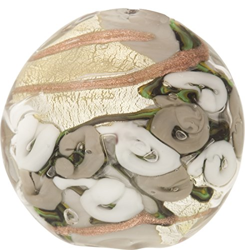 Gray with Gray Roses & Aventurina and 24kt Gold Foil Bed of Roses 25mm Murano Glass Bead Handmade Lampwork