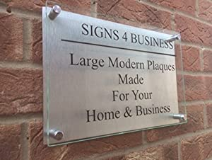 Glass Effect Acrylic Aluminium Business / House Sign   Commercial Office  Plaque