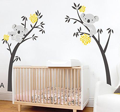 Brown,Green 225cm Width x 150cm Height ALiQing Koala Family Trees Wall Decal for Nursery Baby Bedroom Wall Decor