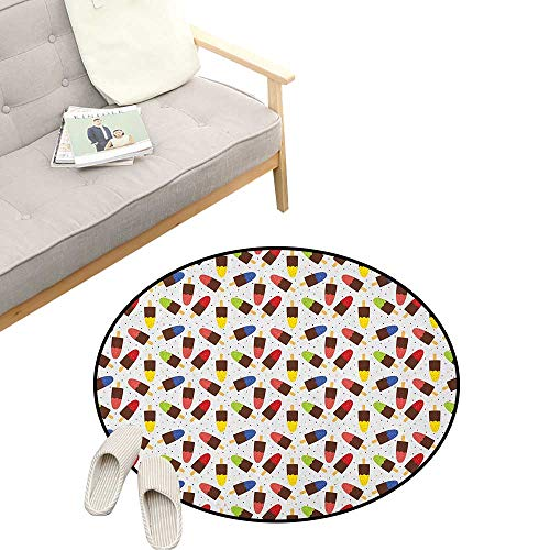 Ice Cream Round Carpet ,Chocolate Popsicles with Different Flavors Scattered Among Colorful Little Dots, Kids Room Bedroom Bedside Rug 47