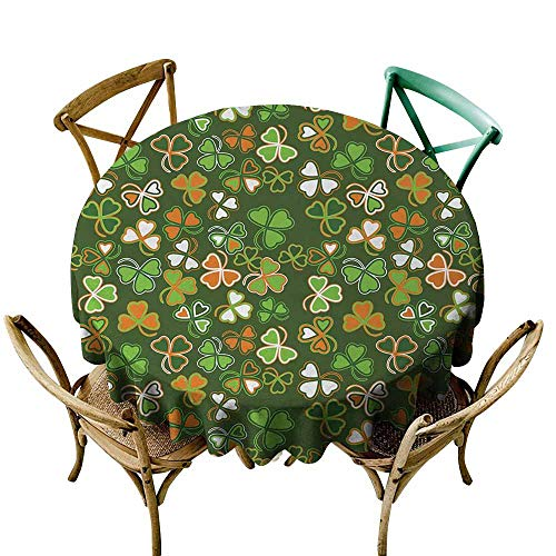 - Homrkey St. Patricks Day Wrinkle Resistant Tablecloth Lucky Shamrocks Pattern Irish Clover Celebration Day Party Prints and Durable Green and Orange (Round - 55