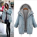 MinerTech Women's Winter Fashion Warm Hooded Denim Trench Parka Outwear Coat Jacket Two Pieces (Blue, M)
