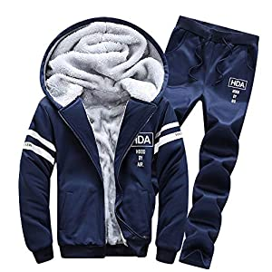 Clearance! WuyiMC Men's Winter Long Sleeved Zipper Hoodie Thickening Jogging Sweat Suits Casual Tracksuits + Pants