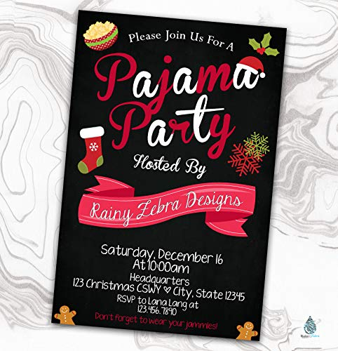 Pajama Birthday Invitation - Slumber Party Invite - Sleepover - PJs - Christmas - Valentine's Day - 4x6 ()