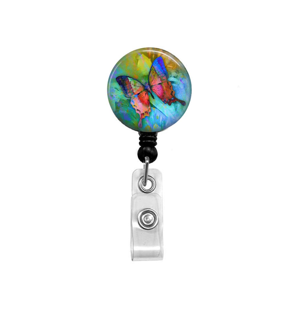 Butterfly badge holder BUTTERFLY fabric badge reel Button reel Butterfly lanyard