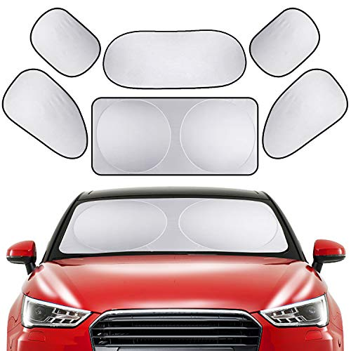 (PEYOU Car Windshield Sun Shade, [6 Pack] Full Car Sun Shade Car Rear Side Window Shade Protect Your Car from Heat and Damage-Reflective Coating-Foldable Sunshade-Keep Your Vehicle Cooler(59x31.5 inch))