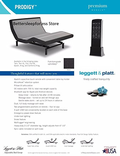Leggett and Platt Prodigy 2.0 Adjustable Bed Base! Free White Glove Delivery! Includes Extended 10 year inhome Warranty! 25 year Total warranty! (Twin (38x75)) price