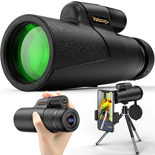 Monocular Telescope, 12x50 High Power HD Monocular for Bird Watching Adults with Smartphone Holder & Tripod BAK4 Prism for Wildlife Hunting Camping Travelling Wildlife - 2020 Newest (1250, Black)