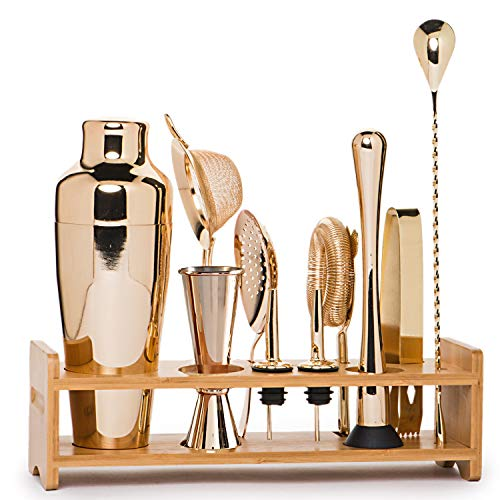Jillmo Bartender Kit, 11 Pieces Champagne Light Gold Bar Set with Bamboo Stand
