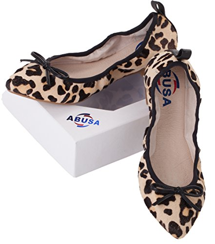 Sexy Ballet Flats - ABUSA Women's Foldable Sexy Leopard Leather Ballet Flat Shoes 12 B(M) US