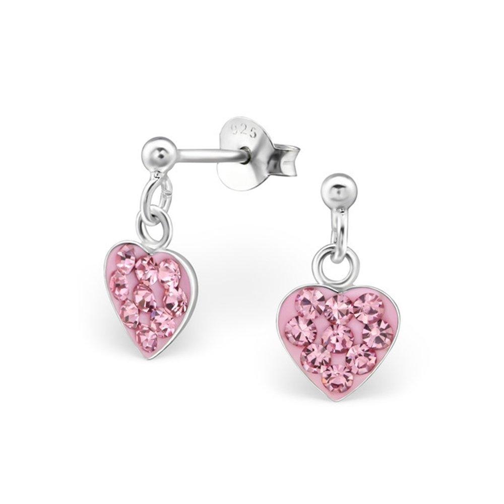 Girls Little Heart Crystal Ear Studs 925 Sterling Silver