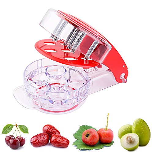 (Yamesu 6 Cherries Olive Cherry Pitter, Cherry/Olive Stone Core Seed Remover Tools with Removable Pit and Juice Container Red)