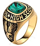 Aokarry Stainless Steel Ring for Men Boy Father Class Ring High School Cubic Zirconia Eagle Green Size 8