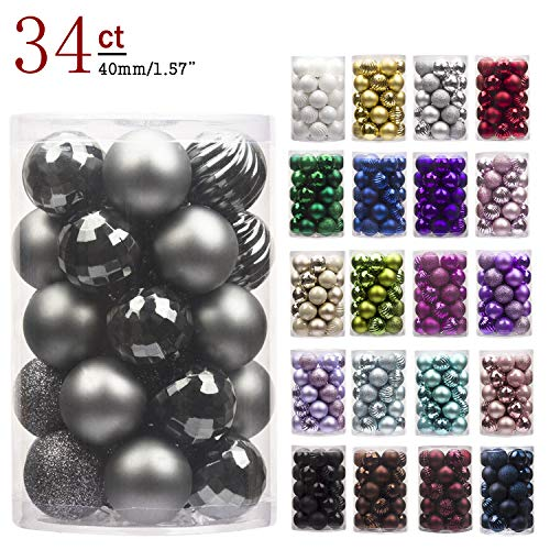 """KI Store 34ct Christmas Ball Ornaments Shatterproof Christmas Decorations Tree Balls Small for Holiday Wedding Party Decoration, Tree Ornaments Hooks Included 1.57"""" (40mm Space Gray)"""
