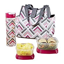 Fit & Fresh Women's Westport Insulated Lunch Bag with Matching Reusable Container Set, Ice Pack and 20 oz Tritan Water Bottle, Magenta