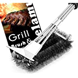"""Delamu Grill Brush and Scraper, Upgraded Stainless Steel BBQ Brush, 18"""" Woven Wire 3 in 1 Grill Brush, Best Barbecue Grill Cleaner for Weber Gas, Charcoal Grill"""