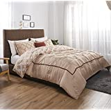 Felicite Home 3 Piece Printed Reversible Pinch Pleat Comforter Set Fade Resistant, Wrinkle Free, No Ironing Necessary, Luxury Silky Soft, All Season Decorative,Taupe,Evans,Queen