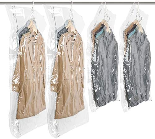 "Hanging Vacuum Space Saver Bags for Clothes, Set of four (2 Long 53""x27.6"", 2 Short 41.3""x27.6""),Vacuum Seal Storage Bag Clear Bags for Suits, Dress or Jackets, Closet Organizer"