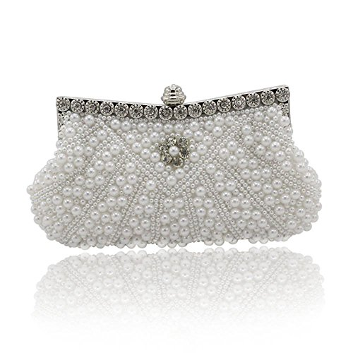 - Kingluck Satin with Pearl and Diamond Wedding /Special Occasion Evening Handbags/Clutch (white)