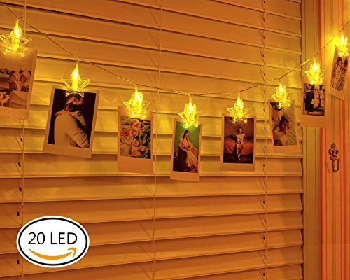 GiBot 20 LED Photo Clip String Light - 20 Photo Clips 10 ft Battery Powered Starry Star LED Lights for Artwork Photos Pictures Wedding Party Bedroom Xmas Decor (Warm (Christmas Star Picture)