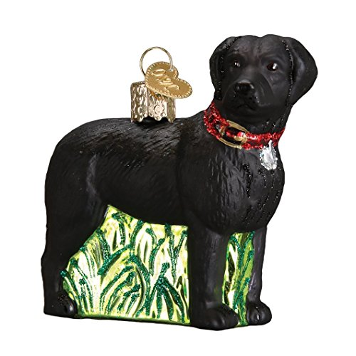(Black Lab Standing in Grass Glass Blown Hanging Christmas)