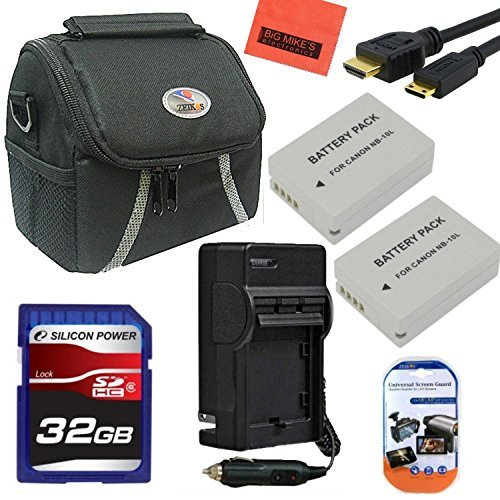 Advanced Accessory Kit for Canon PowerShot G1 X, G15, G16, SX40 HS, SX50 HS, SX60 HS Digital Camera - Includes 2 Pack of NB10L Batteries & Charger + 32GB SD Memory Card+ Deluxe Carrying Case + Mini HDMI-HDMI Cable +More!! by Big Mike's
