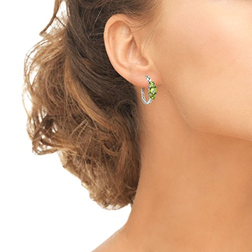 Sterling Silver Gemstone Three-Stone Filigree Hoop Earrings
