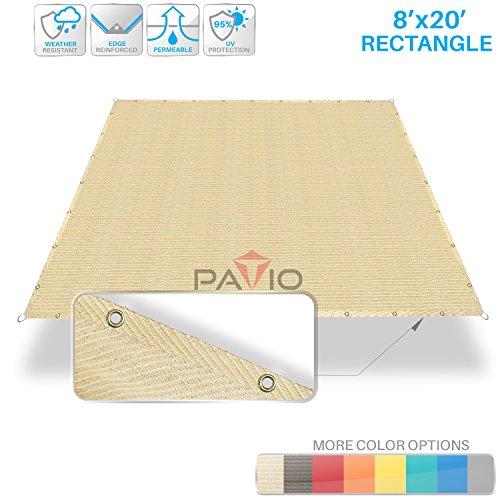 UPC 648038057261, Patio Paradise 8' x 20' Straight Edge Sun Shade Sail, Beige Rectangle Outdoor Shade Cloth Pergola Cover UV Block Fabric - Custom Size Available - 3 Year Warrenty