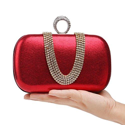 A Banchetto Con Trapano Forma Da U Moda colore Prendere Signora Serale Fly Sera Pranzo Mano Pacchetto Red Di Borsa Diamanti Piccola wOWXBqcB4