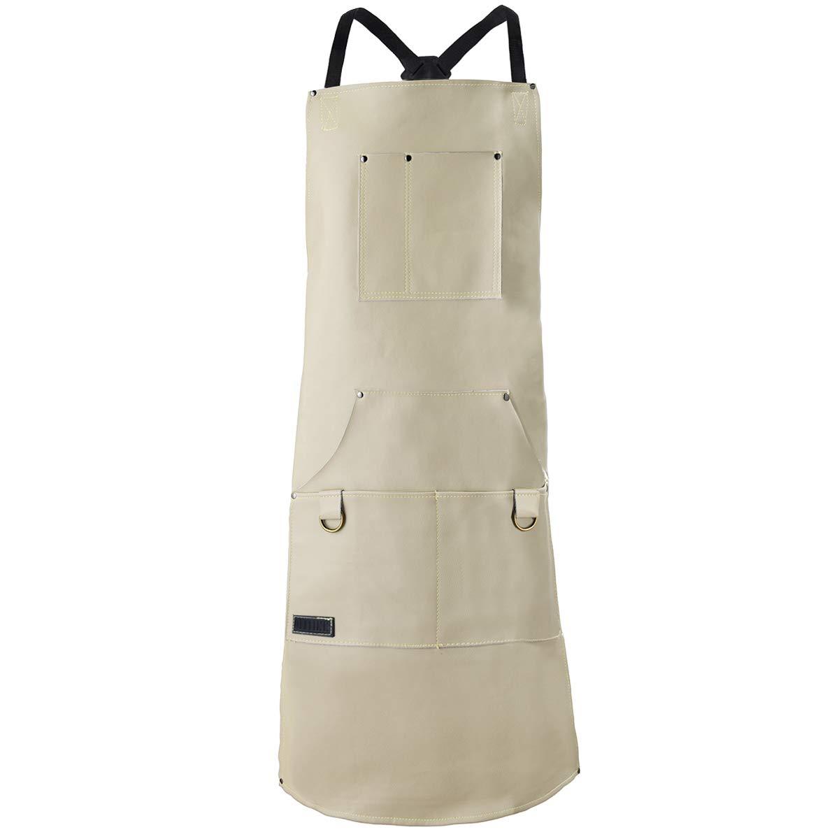 QeeLink レザーシェフエプロン キッチン BBQ グリル用 6ポケット ホワイト   B07K1CX3NP