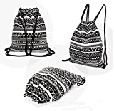 Eco-Friendly Reusable Durable Cotton Drawstring Backpack Bohemia Canvas Ethnic Knit Shopping Gym Travel Hiking Sports Portable Bag (Black)