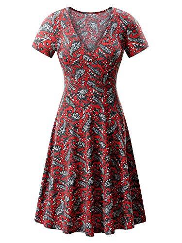 MSBASIC Flower Dress Cute Dresses for Juniors Cashew Flowers Red M