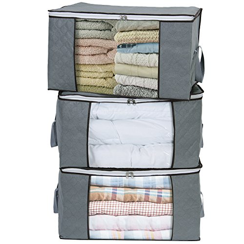 Lifewit Set of 3 Large Clothes Storage Bag for Comforters, Blankets, Bedding, Pillow, Breathable Foldable Closet Organizer with Clear Window, Grey