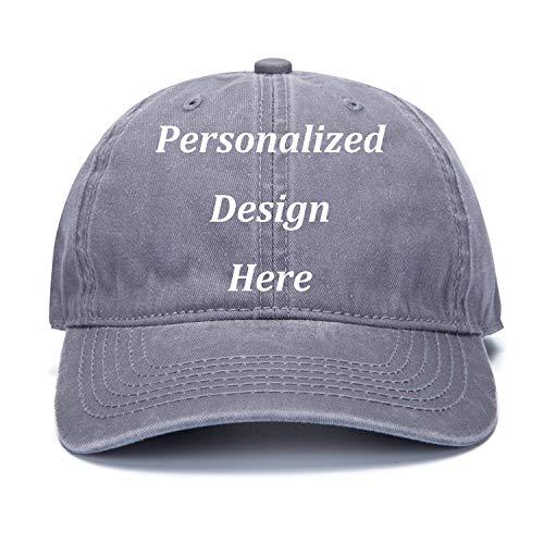 ball Caps Add Logo/Text/Image Custom Retro Wash Denim Cowboy Hat Adjustable Sports Personalized Hats ()