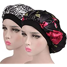 MuYiTai Satin Sleep Bonnet Wide Band Night Hat Hair Loss Chemo Caps for Women
