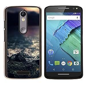 YiPhone /// Prima de resorte delgada de la cubierta del caso de Shell Armor - Rocas del mar - Motorola Moto X3 3rd Generation
