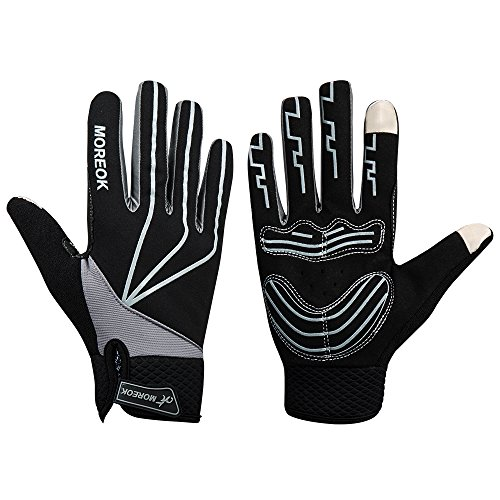 Anqier Touch-Screen Cycling Gloves,Winter Mountain Road Windproof Gloves Full Finger Bicycle Racing Riding Silicone Gloves For men & women (Black, Large)