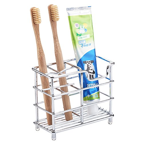 Toothbrush Holder, Stainless Steel Bathroom Organizer Toothbrush Storage, Simple, Hygienic and Rust Resistant, Chrome