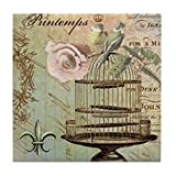 CafePress - Vintage French Shabby Chic Birdcage - Tile Coaster, Drink Coaster, Small Trivet