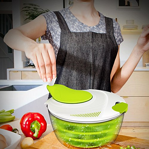 Salad Spinner, ANKO BPA Free Certified 4.2 Quart Capacity Vegetable Dryer Strainer with Vegetable Scissors, Ease for Tastier Salads and Faster Food Prep (1) by ANKO (Image #6)'