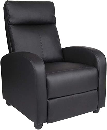 Polar Aurora Recliner Chair PU Leather Single Modern Sofa Home Theater Seating for Living Room Black