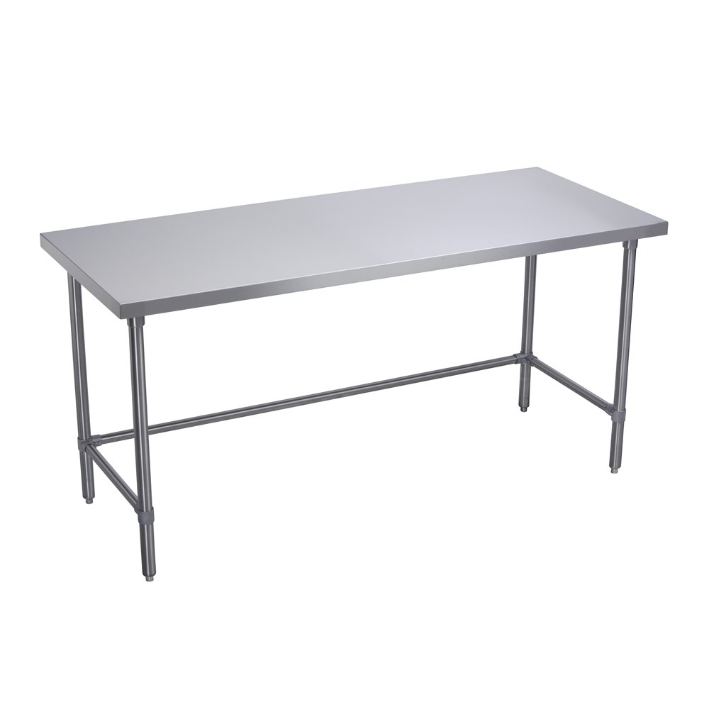 Elkay Foodservice Chef's Choice Work Table, 30''X108'' OA, 36'' Working Height, Flat Top, Cross Brace, Turned Down Table Edge, Stainless Legs With Adjustable 1'' Feet, 16 Gauge 300 Series Stainless Steel, NSF Certified
