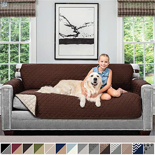 "Sofa Shield Original Patent Pending Reversible Sofa Slipcover, Dogs, 2"" Strap/Hook, Seat Width Up to 70"", Furniture Protector Machine Washable, Couch Slip Cover Throw for Pets, Kids (Chocolate/Beige)"