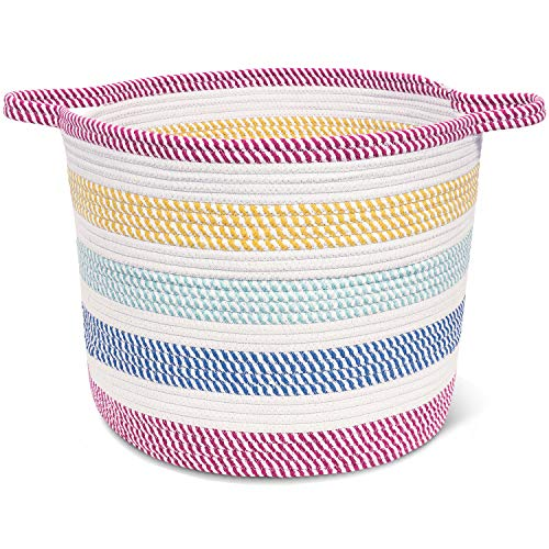 Cotton Rope Basket Colorful for Baby Nursery Room - Cute Kids Laundry Hamper - Blanket Basket, Toy Chest, 15.7''x13'' Soft Bottom Woven Basket (Colorful Laundry Baskets)