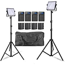 Pergear Lightmate S CRI 96+ 5500K Dimmable 480 Led Video Light Panel with 6600mAh Battery Pack, 2M/6.5ft Light Stand and Carrying Bag - 2 Set