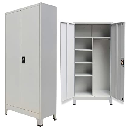 Amazon Festnight Office Steel Locker Cabinet With 2 Doors Gray